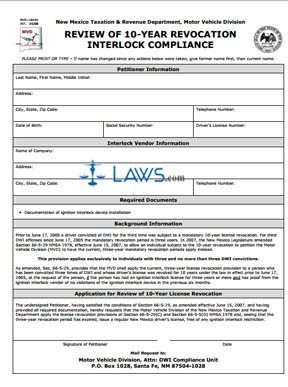 Form MVD10454 Review of 10-Year Revocation Interlock Compliance Form