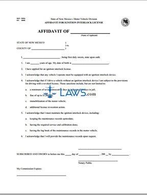 Form MVD10456 Ignition Interlock License Affidavit Form  Affadavit Form