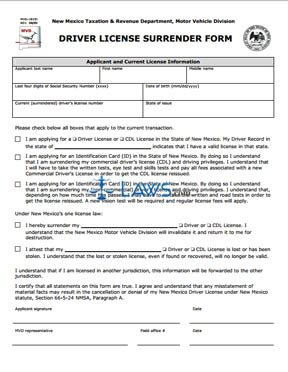 Form MVD10231 Driver License Surrender Form - New Mexico Forms ...