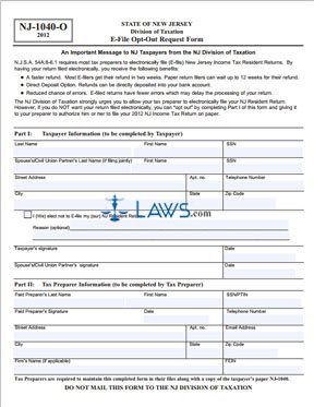 Form NJ-1040-O E-File Opt-Out Request Form - New Jersey Forms ...