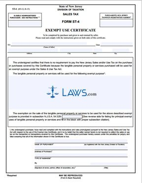 Form ST-4 Exempt Use Certificate - Tax Exemptions Forms - | Laws.com