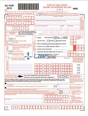 Form NJ-1040 Income Tax Resident Return