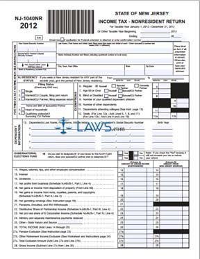 Form NJ-1040NR Income Tax Nonresident Return