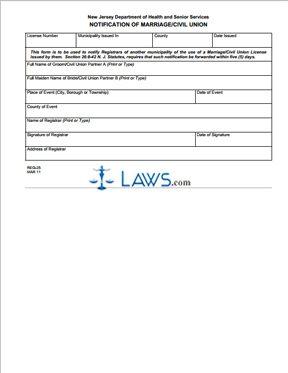 Form REG-25 Notification of Marriage/Civil Union