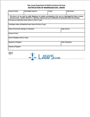 Form REG-25 Notification Of Marriage/Civil Union