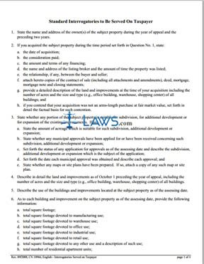 Form 10966 Standard Interrogatories to be Served on Taxpayer