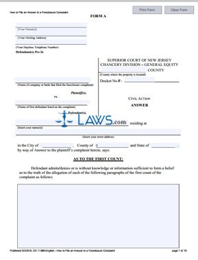 Form CN-11380 How to File an Answer to a Foreclosure Complaint