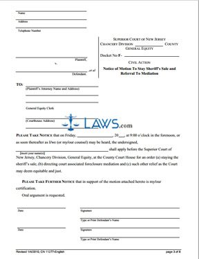 Form CN-11277 Stay of Sheriff's Sale and Mediation Request Notice of Motion