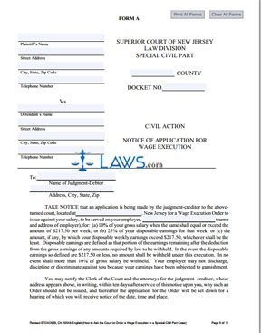 Form CN-10548 Wage Execution