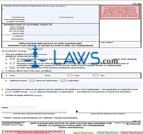 Application and Notice of Application and Hearing for Order to Quash Ex Parte Writ of Possession (Cl