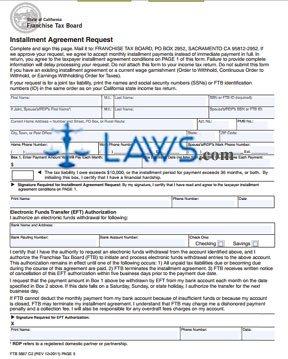 Form Ftb 3567 Installment Agreement Request Legal Forms