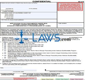 Application to File Documents Under Seal in Name Change Proceeding Under Address Confidentiality Pro