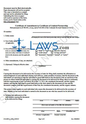 Form Certificate of Amendment to Cert. of LP (Limited Partnership) (Sample)