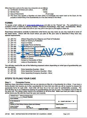 Form JDF 823 Instructions for Minor Guardianship