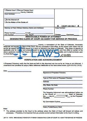 Form JDF 721 Irrevocable Power of Attorney Designating Clerk of Court as Agent