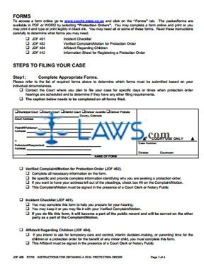 Instructions for Protected Person Motion to Modify / Dismiss Protection Order