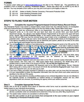 Instructions for Restrained Person Motion to Modify / Dismiss Protection Order
