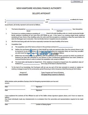Form Sellers Affidavit