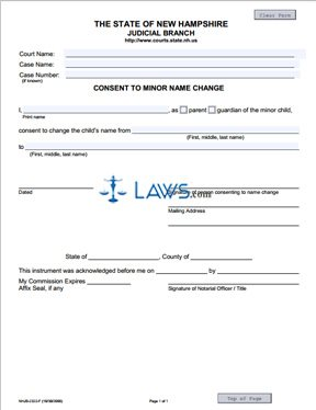 Form NHJB-2322-F Consent to Minor Name Change