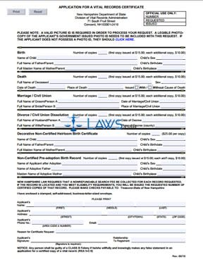 Form Application for a Vital Records Certificate