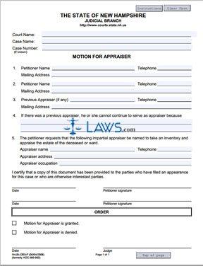Form NHJB-2303-P Motion for Appraiser