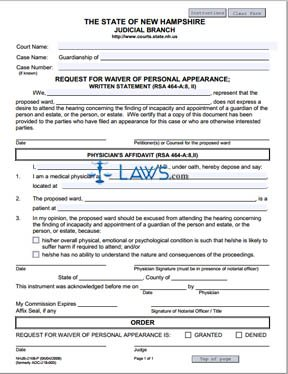 Form NHJB-2168-P Request for Waiver of Personal Appearance