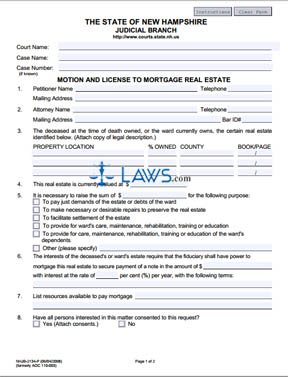 Form NHJB-2134-P Motion and License to Mortgage Real Estate