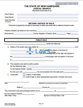 Form NHJB-2126-P Return-Notice of Sale