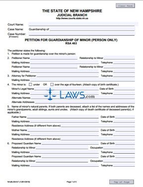 Form NHJB-2024-F Petition for Guardianship of Minor (Person Only)