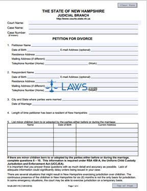 Form NHJB-2057-FS Petition for Divorce
