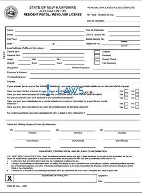 Form Resident Pistol / Revolver License