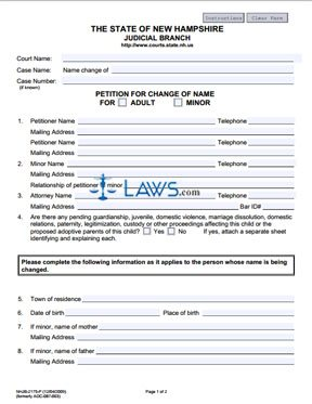Form NHJB-2175-P Petition for Change of Name