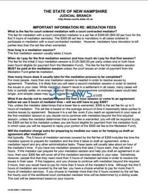 Important Informaton Regarding Mediation Fees