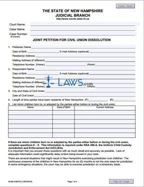 Joint Petition for Civil Union Dissolution