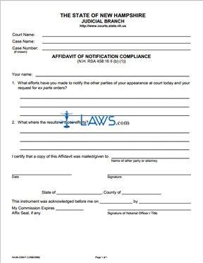Affidavit of Notification Compliance
