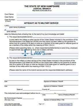 Affidavit as to Military Service
