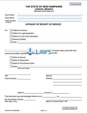 Affidavit of Receipt of Service