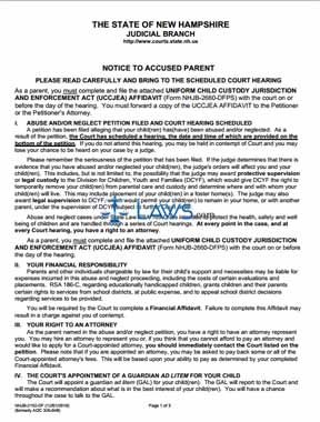 Notice to Accused Parent
