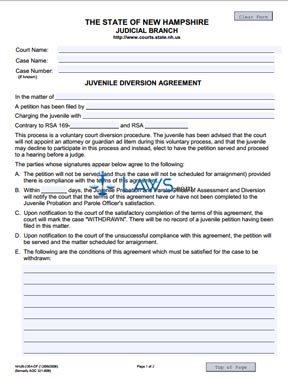 Juvenile Diversion Agreement