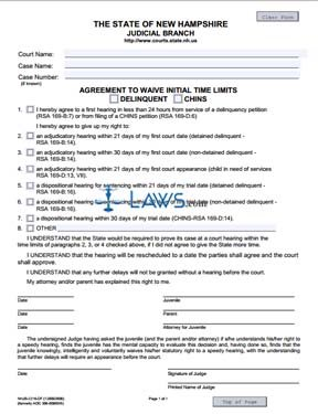 Agreement to Waive Initial Time Limits Delinquent CHINS