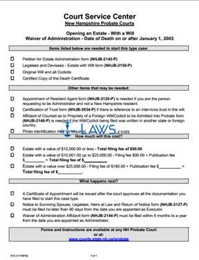 013 Waiver of Admin. DOD on or after 1/1/03 With a Will