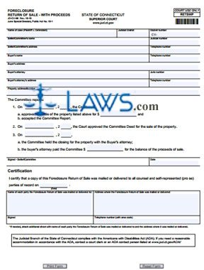 Form JD-CV-98 Foreclosure Return of Sale — With Proceeds