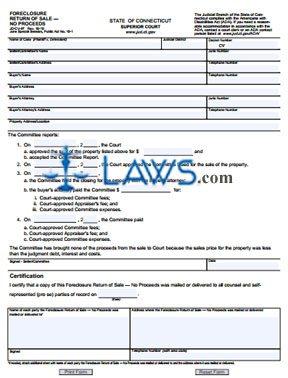 Form JD-CV-97 Foreclosure Return of Sale — No Proceeds