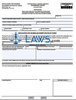 Form JD-CV-72 Application For Hearing On Exempt Status of Funds