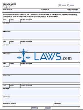 Form JD-CV-66 Errata Sheet