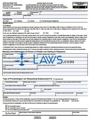 Form JD-CV-62 Application For Issuance of Subpoena