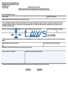 Form JD-CV-57 Notice For Placement on Expedited Process Track
