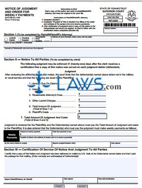 Form JD-CV-50 Notice of Judgment And Order For Weekly Payments