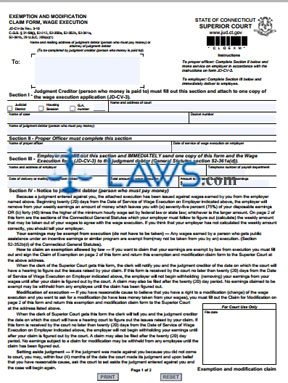 Form JD-CV-3a Exemption and Modification Claim Form Wage Execution