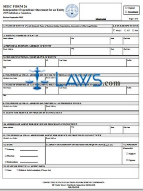 SEEC Form 26 Instructions Independent Expenditure Statement for an Entity
